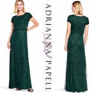 Adrianna Papell short sleeve green beaded blouson